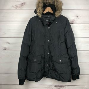 Betsey Johnson Puffer Jacket Hood Faux Fur Coat